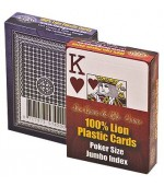 Poker karte Lion 100% plastic, jumbo index, rdeče